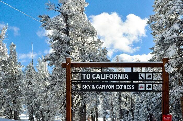 winter getaway lake tahoe california sign