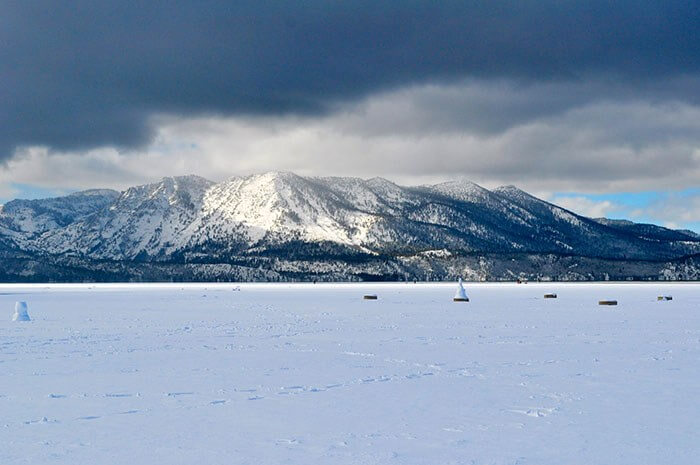 winter getaway lake tahoe frozen