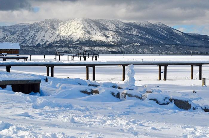 winter getaway lake tahoe snowman