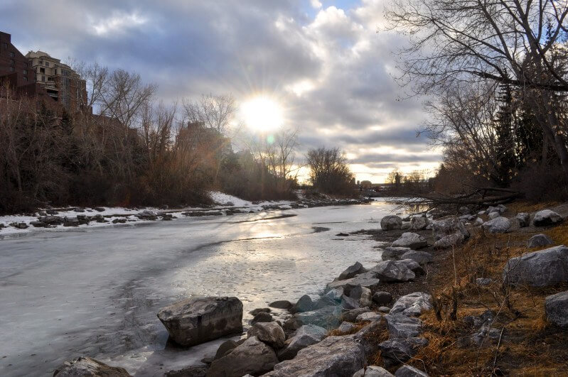 winter vacation calgary bow river