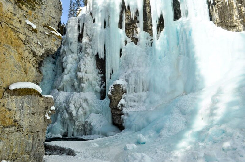 ice hiking johnston canyon frozen upper falls