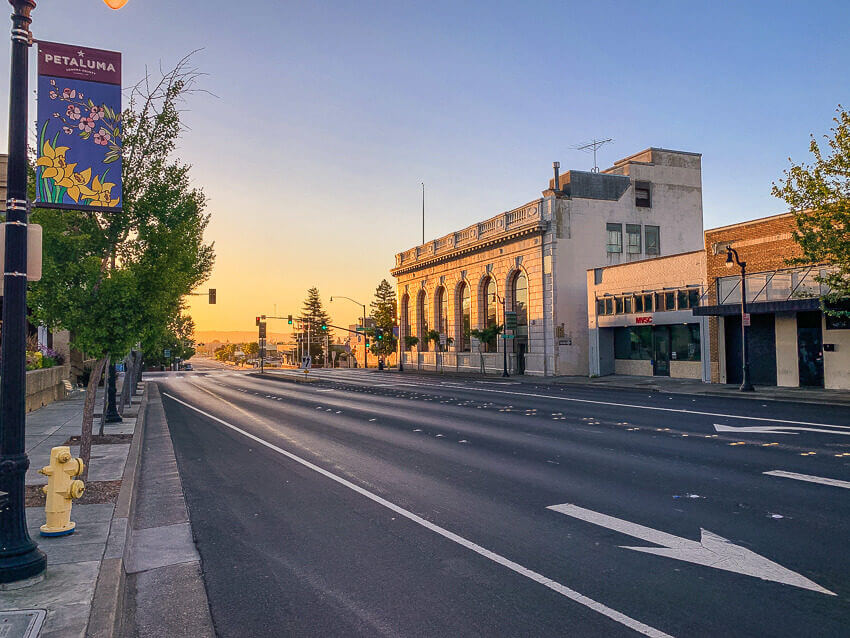 downtown petaluma sunset