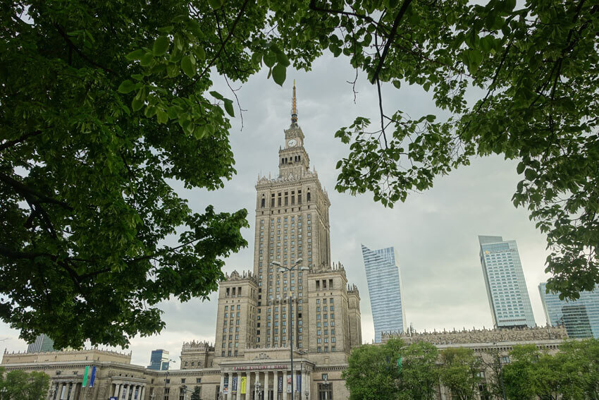 warsaw in winter palace of culture and science