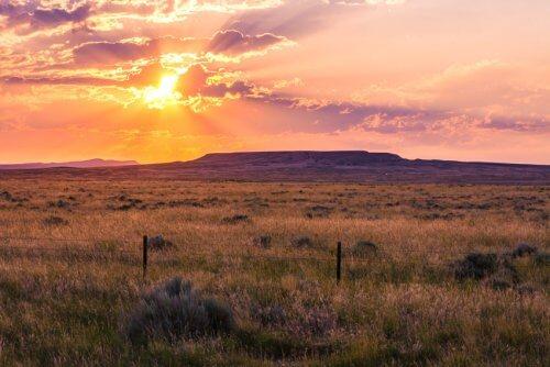 Seattle to Yellowstone road trip sunset