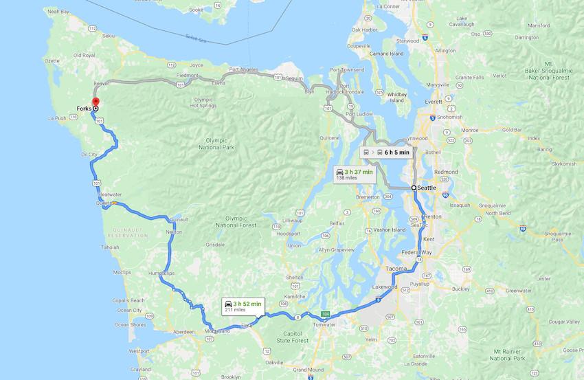 Olympic Peninsula loop drive map
