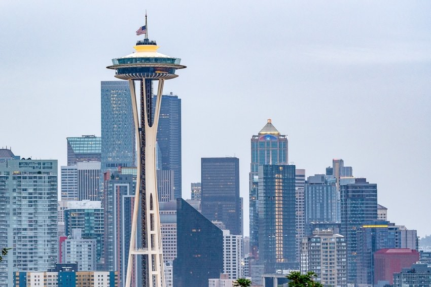 Space Needle Tower In Seattle City