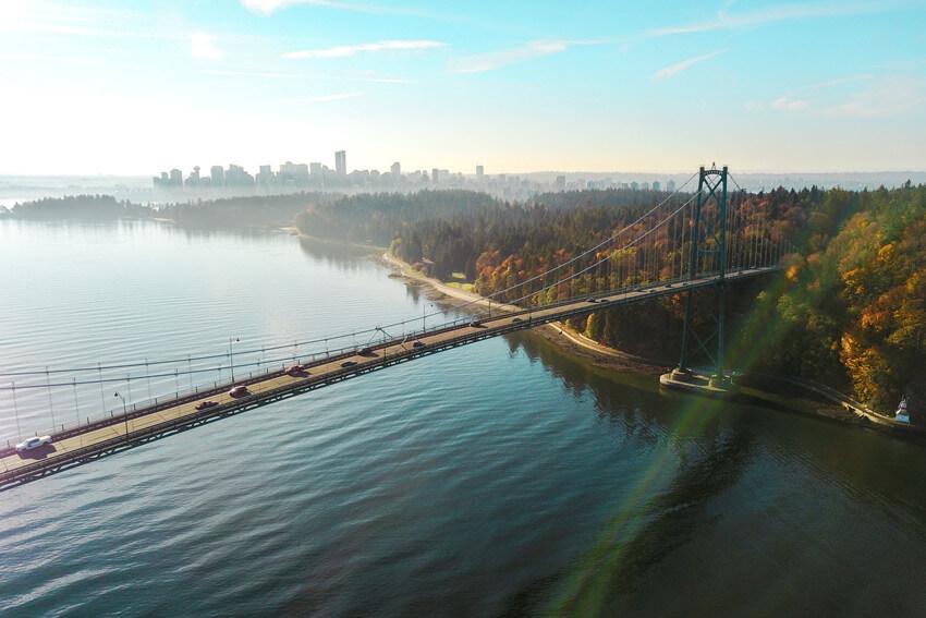 Aerial Lions Gate Bridge Vancouver
